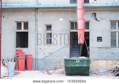 Restoration of old building detail .