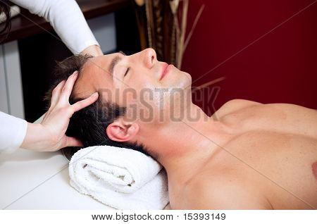 Man Having A Head Massage