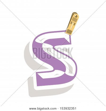 Clothespin holding relive letter s in shade vector illustration