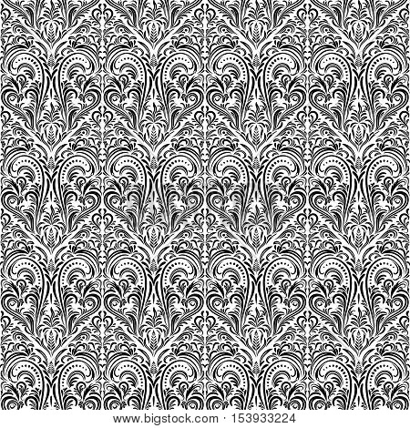 Seamless Tile Floral Pattern, Black Symbolical Contours Isolated on White Background. Vector