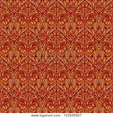 Tile Floral Ornament, Background with Vintage Abstract Seamless Pattern, Gold on Red. Vector