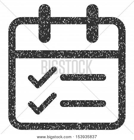Day Tasks grainy textured icon for overlay watermark stamps. Flat symbol with dirty texture. Dotted vector gray ink rubber seal stamp with grunge design on a white background.