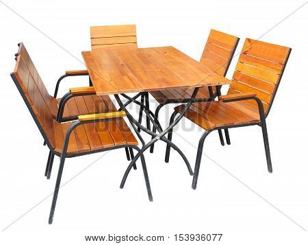 Set Of Wooden Garden Furniture Table And Chairs Isolated On White