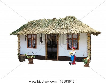 Tiny Little House with straw roof isolated on white background