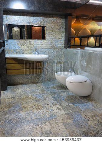 Modern luxury restroom toilet mirror and bidet in the bathroom