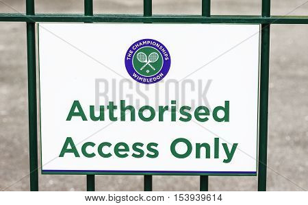 London, the UK - May 2016: Authorised access to Wimbledon courts