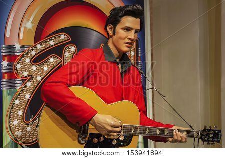 London, the UK - May 2016: Elvis Presley wax figure in Madame  Tussauds museum