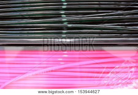 Pink and dark green 3d printing filament