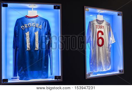London, the UK - May 2016: Drogba and Terry shirts in FC Chelsea  museum