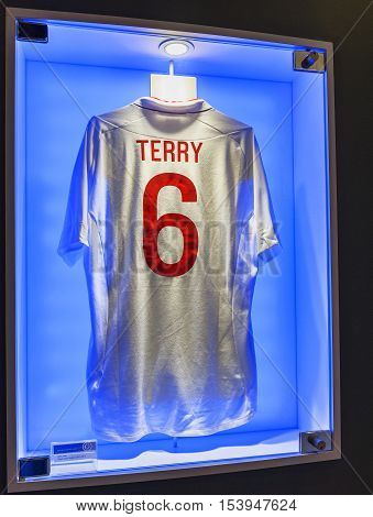 London, the UK - May 2016: Joh Terry t-shirt in FC Chelsea  museum