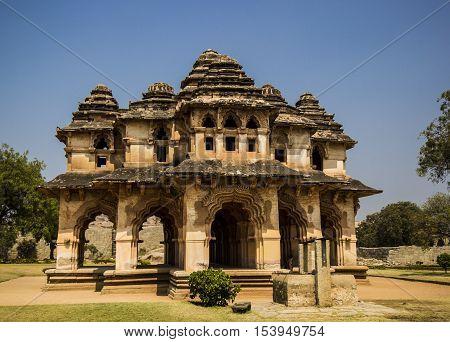 Hampi, India. Admiring Lotus Mahal - queens mansion in Hampi
