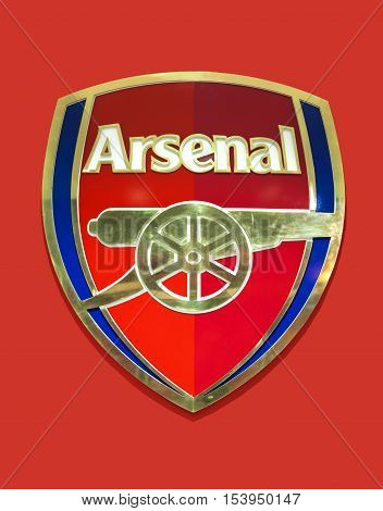 London, the UK - May 2016: Official emblem of FC Arsenal