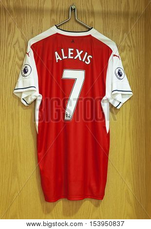 London, the UK - May 2016: Alexis shirt in the changing room of FC Arsenal at  the Emirates Arena