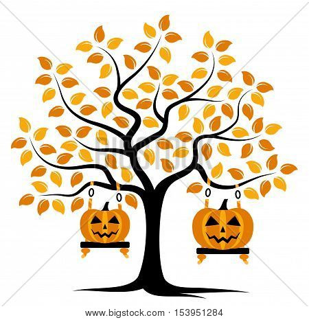 vector autumn tree with swings and halloween pumpkins isolated on white background