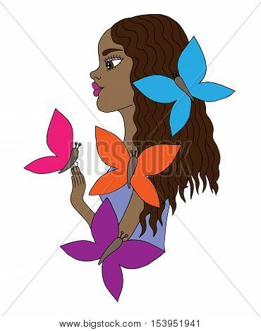 Colorful young beautiful afro American girl with butterfly. Mono color black line art element for adult coloring book page design.