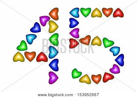 Number 45 of colorful hearts on white. Symbol for happy birthday event invitation greeting card award ceremony. Holiday anniversary sign. Multicolored icon. Forty five in rainbow colors. Vector