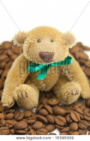 Teddy Bear With A Bow And Coffee Beans