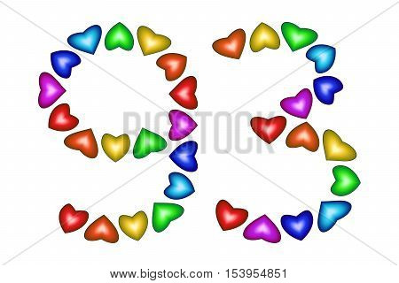 Number 93 of colorful hearts on white. Symbol for happy birthday event invitation greeting card award ceremony. Holiday anniversary sign. Multicolored icon. Ninety three in rainbow colors. Vector