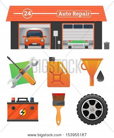 Auto repair icons set Vector garage concept. Car tuning, gas station, oil, auto repair, battery charging, autocorrect, car painting. Car in garage, car wash