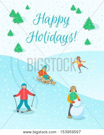 Kids playing outdoor winter games. Boys and girls in warm clothes making snowman, skiing, sledding, ice skating on Christmas holidays. Snowy vector background. Children winter activities banner