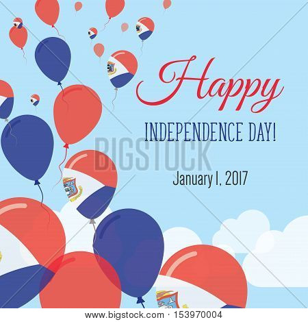 Independence Day Flat Greeting Card. Sint Maarten Independence Day. Dutch Flag Balloons Patriotic Po