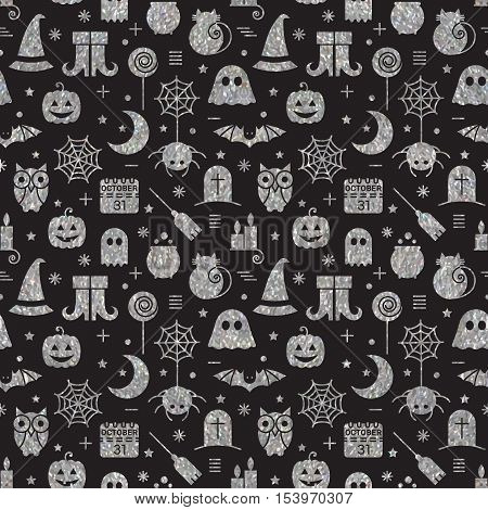 Seamless Halloween silver textured pattern with festive Halloween icons. Bright design for wrapping paper, paper packaging, textiles, holiday party invitations, greeting card. Vector illustration.
