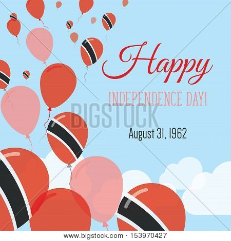 Independence Day Flat Greeting Card. Trinidad And Tobago Independence Day. Trinidadian Flag Balloons