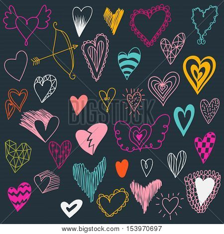 Set of hand drawn hearts. Valentine hearts for your design. Hearts Doodles