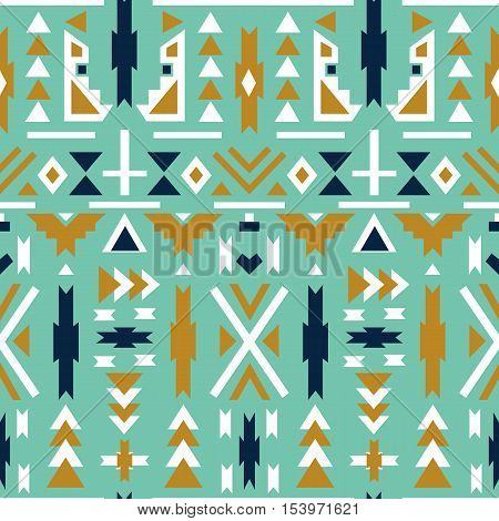 Seamless colorful aztec pattern. Green background. Aztec geometric background.Vector illustration. Used as greeting card or wedding invitation for your design.invitation for your design.