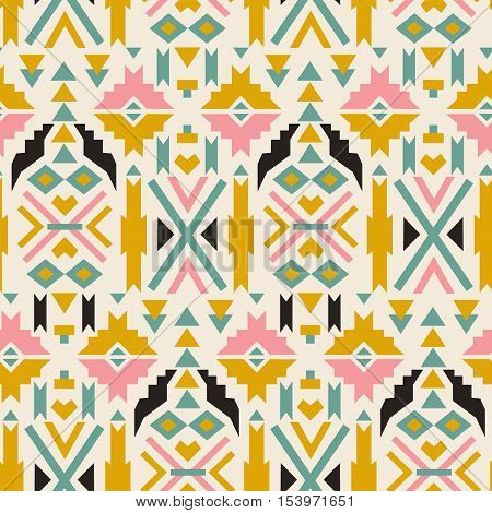 Seamless colorful aztec pattern.  Aztec geometric background. Vector illustration. Used as greeting card or wedding invitation for your design.