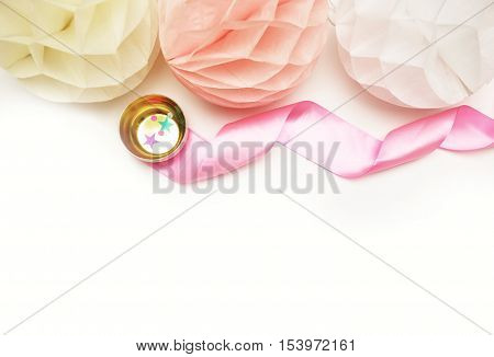 Paper colorful balls. Table view and mock- up background. Wedding background. Confetti and stars. Flat lay