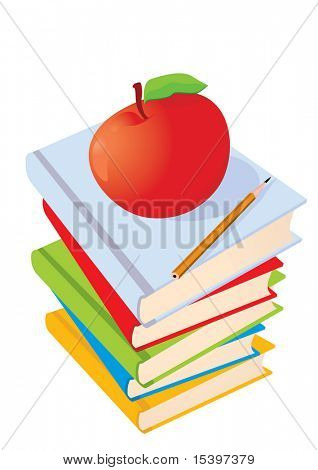 Vector illustration. Books, apple and pencil isolated on white