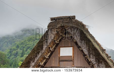 Shirakawago Japan - September 23 2016: Top of the particular roof structure of houses and barns in Shirakawago shows the material and the thickness.