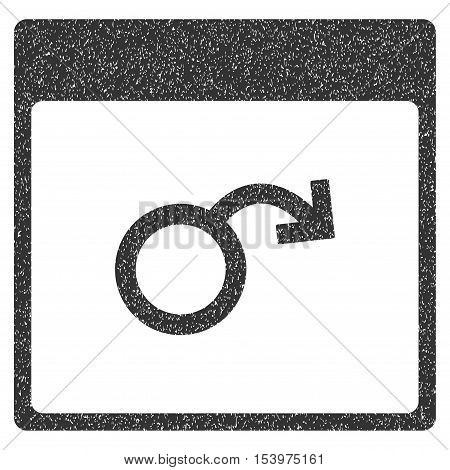 Impotence Calendar Page grainy textured icon for overlay watermark stamps. Flat symbol with unclean texture. Dotted glyph gray ink rubber seal stamp with grunge design on a white background.