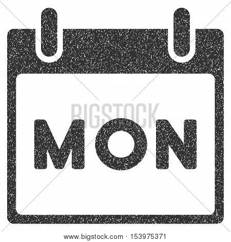 Monday Calendar Page grainy textured icon for overlay watermark stamps. Flat symbol with unclean texture. Dotted glyph gray ink rubber seal stamp with grunge design on a white background.