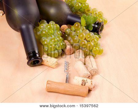 Maçantes garrafas de vinhos e uvas