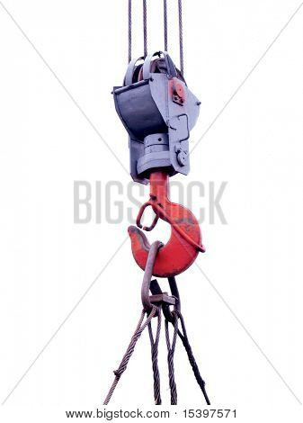 Construction crane hook isolated on white