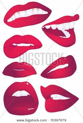 7 Lippen Ausdrücken. Vektor-illustration
