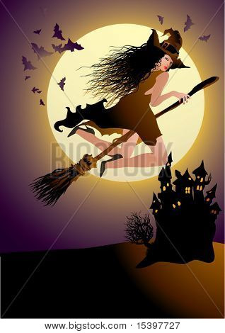 The witch. Vector illustration