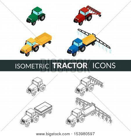 vector illustration. set of agricultural icons. Farm tractor with plow trailer sprayed with insecticides. 3D isometric. Contour outline and color