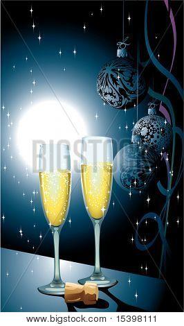 Celebrando el Champagne. Ilustración de Vector