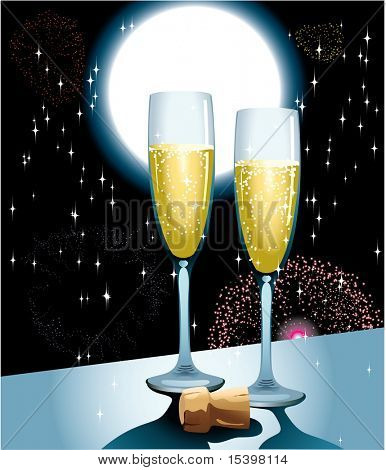 Celebrating Champagne. Vector illustration
