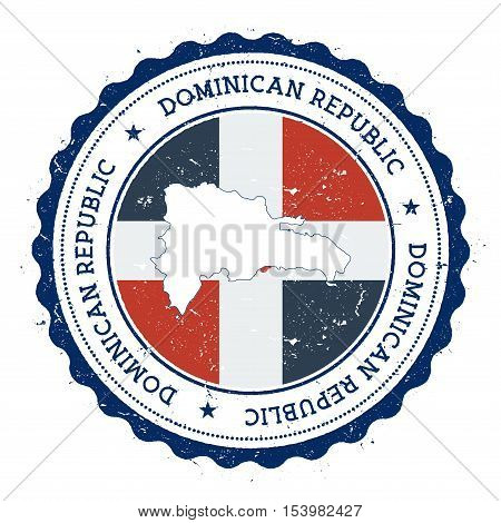 Dominican Republic Map And Flag In Vintage Rubber Stamp Of State Colours. Grungy Travel Stamp With M