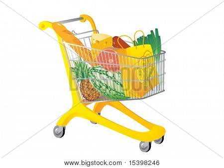 Supermarket cart. Vector illustration