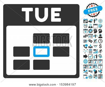 Tuesday Calendar Page pictograph with bonus calendar and time management pictograph collection. Glyph illustration style is flat iconic bicolor symbols blue and gray colors white background.