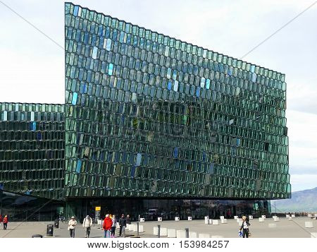 REYKJAVIK, ICELAND - JULY 3, 2016: Harpa concert hall and opera house in Rejkjavik, Iceland. The opening concert was held on May 4, 2011.
