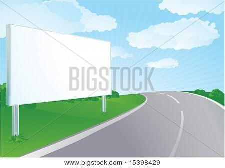 Vector Billboard en el camino. Verano.