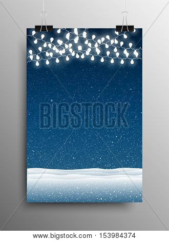 Vertical Poster Banner A4 Sized Vector Hanging With Paper Clips. White WInter Snow Falling Blue Background. Garland Light Bulb. Falling Snow. Winter Holiday. Snowdrifts. Merry Christmas New Year.
