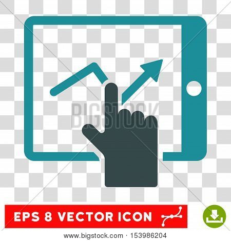 Tap Trend on PDA vector icon. Image style is a flat soft blue iconic symbol.