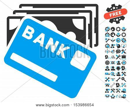 Credit Money icon with bonus tools symbols. Glyph illustration style is flat iconic bicolor symbols blue and gray colors white background.